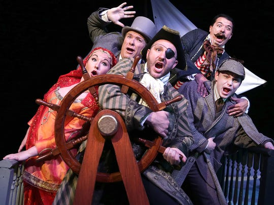 """Amazing racers Kate Fitzgerald, Eric Olson, Tyler Kirkholm, Jason Rainwater and Dakota Rachuy star in """"Around the World in 80 Days"""" at the Des Moines Community Playhouse."""