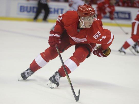 Red Wings center Dylan Larkin skates during a game
