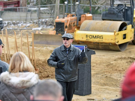 Cumberland County Freeholder Director Joe Derella  speaks at the groundbreaking ceremony for the Cumberland County College Arts & Innovation Center in Millville.