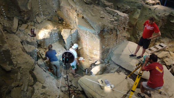 Archaeologists at work during recent reconstruction work at Meadowcroft Rockshelter.