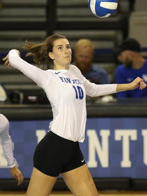 Jordan Fry, an Ursuline graduate, plays in a game with The University of Kentucky volleyball team against WKU in an exhibition match Aug. 16.