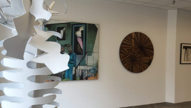 Art mounted at the Urban Studio Unbound's new gallery in downtown Yonkers on Oct. 1, 2015.