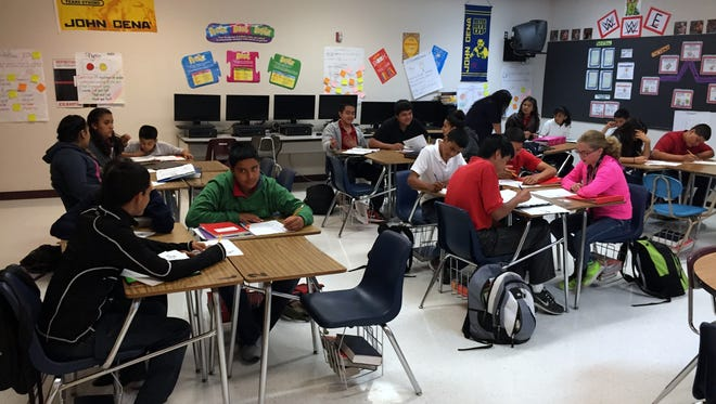 Students work on assignments in an English Language Arts class at Tornillo Junior High School. The Tornillo ISD unanimously voted for a bond issue to fund upgrades to the district's instructional and athletic facilities, including roofing, safety, heating and cooling improvements.