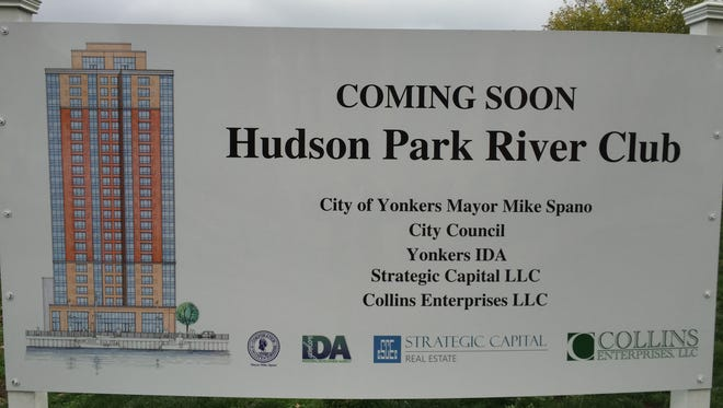 A sign for the Hudson Park River Club on the Yonkers waterfront.