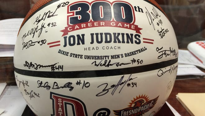 Dixie State head coach Jon Judkins picked up his 200th victory in a 75-65 road win over Dominican last week. The following game Coach Judkins reached the 300 plateau for career games at DSU.