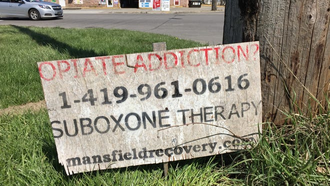 Sign at Bowman and Longview, near where two women had to be revived after apparent heroin overdoses Friday afternoon.