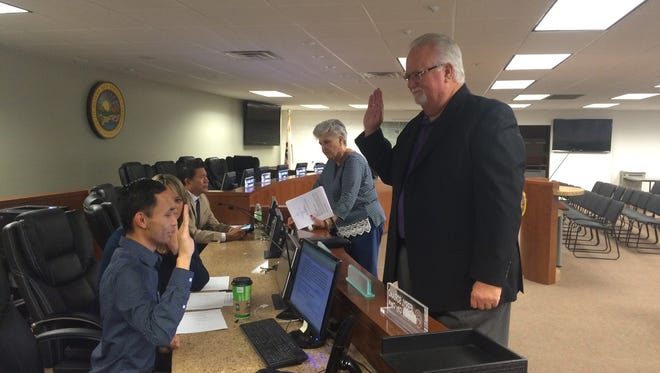 Charles Maynard is sworn in as Desert Hot Springs' interim city manager Monday morning. He is replacing Martin Magana, who resigned last week.