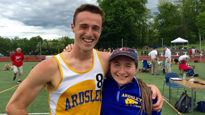 Ardsley's Zac Wachs with teammate Ruth Seagall after Wachs' win.