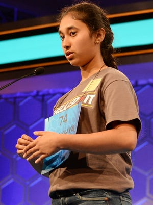 Alekhya Ankaraju, of Carmel, Ind.,  competes in the 2014 Scripps National Spelling Bee in National Harbor, Md., Wednesday, May 28, 2014. Ankaraju moved on to the Bee semifinals.