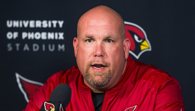 Arizona Cardinals general manager Steve Keim talks about the upcoming NFL draft during a press conference at the team training facility in Tempe, Wednesday, April 18, 2018.