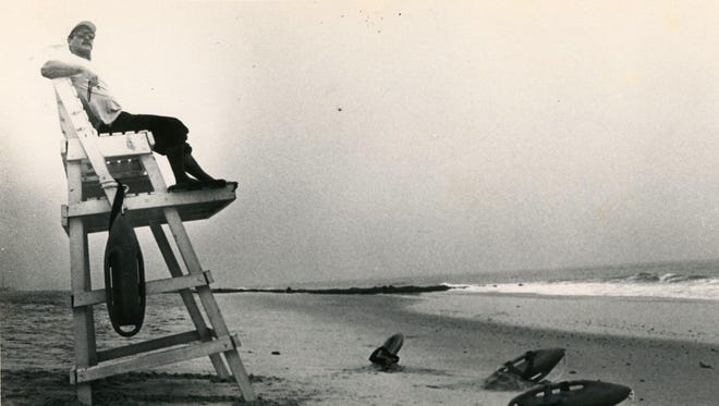 Tim Ferry sits on a lifeguard stand in Bethany Beach, circa July 1988.