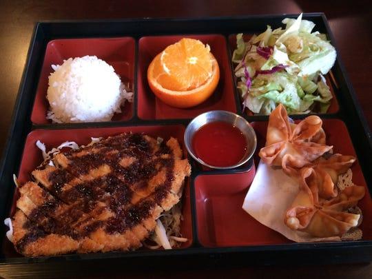 The chicken katsu bento box with crab puffs at Fresh