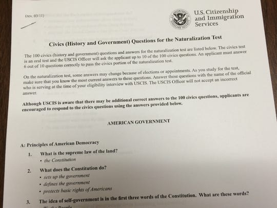Copy of civics questions for the test required for