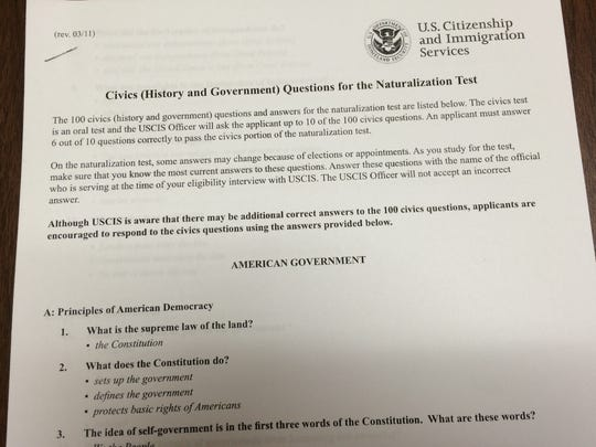 Copy of civics questions for the test required for U.S. citizenship