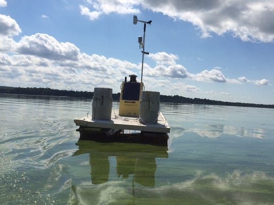 A research buoy, monitored by scientists at VT EPSCoR, monitors water conditions in Missisquoi Bay— a shallow portion of Lake Champlain that frequently hosts cyanobacteria (also known as blue-green algae) blooms.
