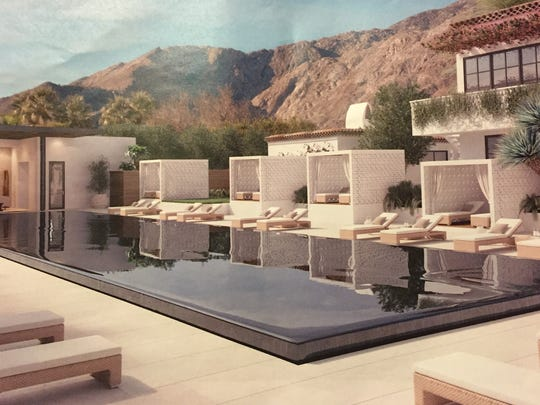 An architect's view of the infinity pool and cabanas