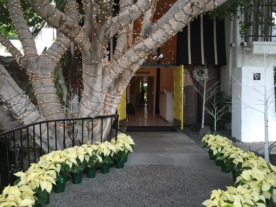 The entrance to the Avalon Palm Springs hotel is lined with Poinsettias to greet holiday travelers.