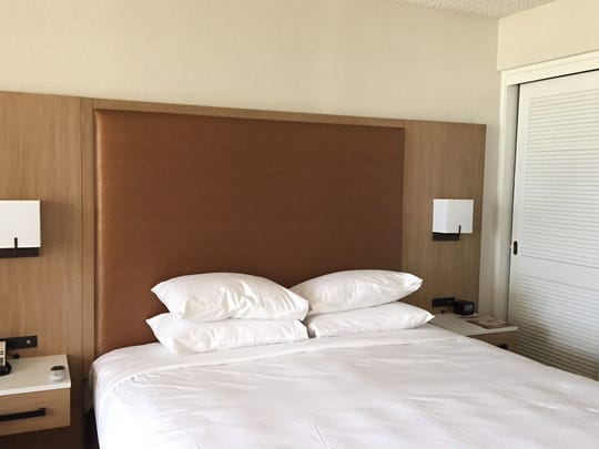 A guestroom at the Double Tree by Hilton Golf Resort Palm Springs, which was the Desert Princess resort in Cathedral City.