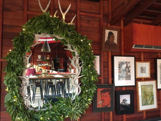 The Barn Kitchen at the Sparrows Lodge in Palm Springs is decorated for the Christmas holidays.