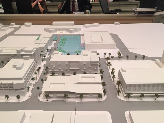 A model of the downtown Palm Springs redevelopment shows the Virgin Hotel as a six-story building in the center, in front of a new downtown park.