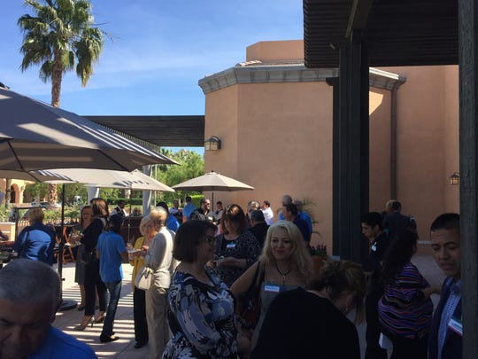 Attendees for the Greater Palm Springs Convention and Visitors Bureau's annual Oasis Awards gathered on the terrace at the Westin Mission Hills Resort in Rancho Mirage on Tuesday.