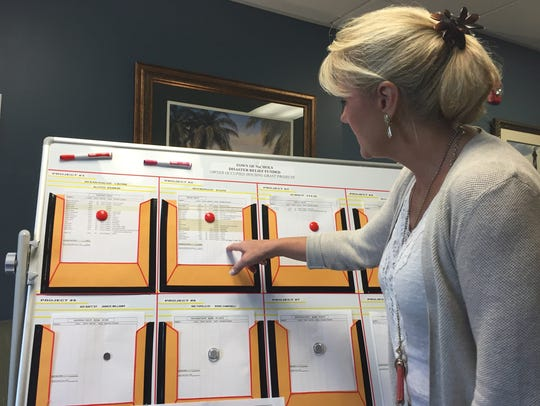 Nichols Town Clerk Sandee Rogers points to a listing