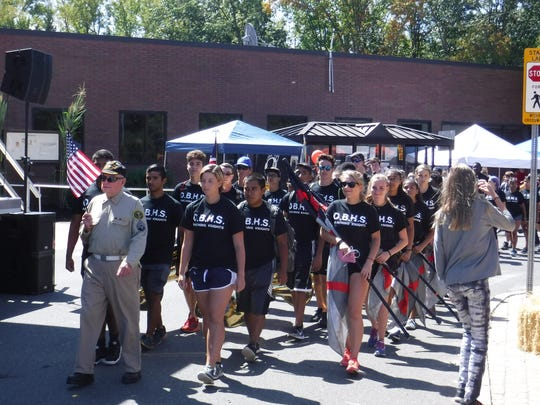 The Old Bridge High School Marching Band at Saturday's Old Bridge Day.