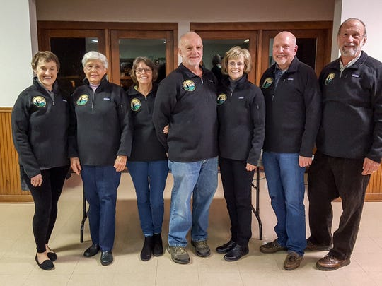 The seven hikers who finished the Valley History Explorer Series in 2017 are, from left, Mary Standaert, Sharon Stenner, Jane Marcello, Ron Marcello, Marilyn Augustine, Charlie Hogue and Joe Standaert.