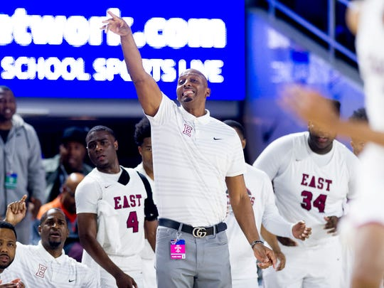 Memphis East Head Coach Penny Hardaway gestures during a Division I Class AAA semifinals game between Bearden and Memphis East at the TSSAA boys state basketball championships at the Murphy Center in Murfreesboro, Tennessee on Friday, March 16, 2018.