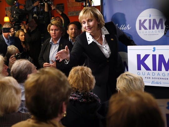 New Jersey Lt. Gov. Kim Guadagno reaches out to supporters at the LaPlaya Restaurant in Keansburg Tuesday, January 17, 2017, after she announced her candidacy for governor. (Thomas P. Costello)