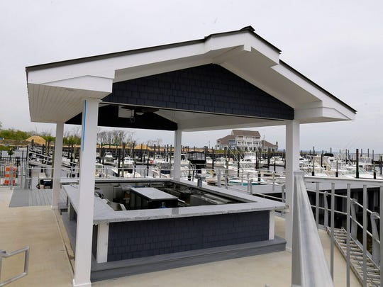 At Joe Amiel's Bay Pointe Inn in Highlands, the outdoor patio overlooks a marina and Sandy Hook Bay.