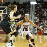 Mississippi State guard Dominique Dillingham drives toward the basket during Sunday's game.