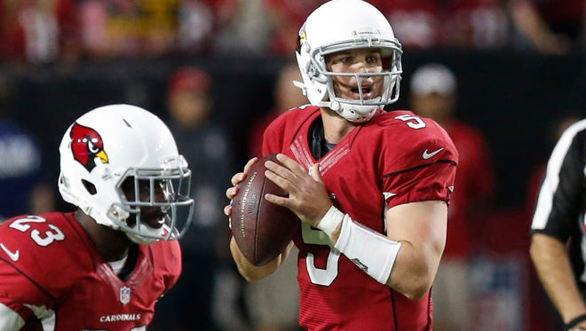 Arizona Cardinals quarterback Drew Stanton (5) throws against the St. Louis Rams during the second half Sunday.
