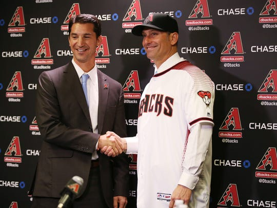 General Manager Mike Hazen (left) introduces new Diamondbacks
