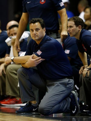 Nov 11, 2016: Arizona Wildcats coach Sean Miller coaches on the sidelines against the Michigan State Spartans at the Stan Sheriff Center.