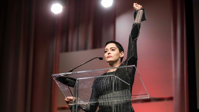 Rose McGowan at the Women's Convention in Detroit on Oct. 27, 2017.