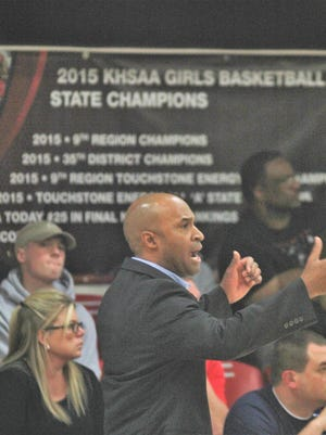Notre Dame head coach Kes Murphy, head coach of the 2015 Holy Cross state champion team, returned to his former gym as Holy Cross hosted Notre Dame in a 35th District girls basketball game Dec. 6, 2018, Latonia KY. NDA won 47-37.