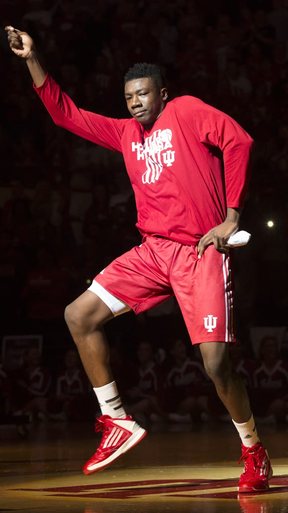 Indiana center Thomas Bryant dances as he is introduced during IU's Hoosier Hysteria on Saturday, Oct. 24, 2015, at Assembly Hall in Bloomington. (James Brosher / For The Star)