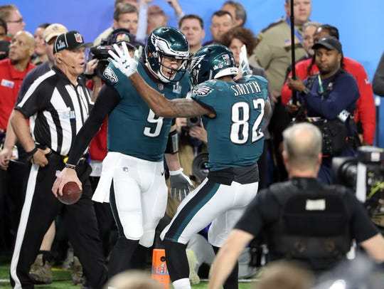 Philadelphia Eagles quarterback Nick Foles (9) celebrates