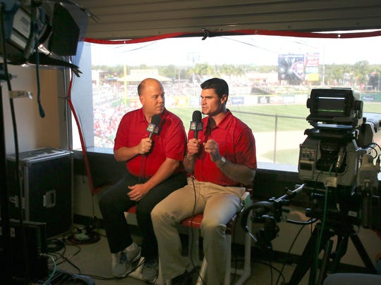 Phillies broadcasters Tom McCarthy (left) and Ben Davis before a spring training game in 2015.