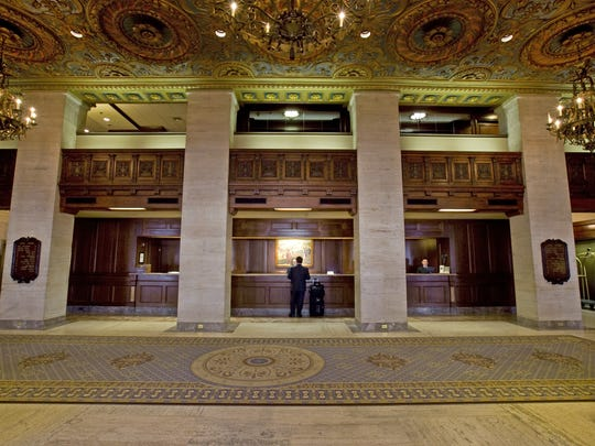 A view of the Hotel du Pont's lobby before its renovations.