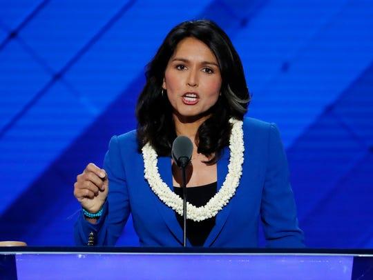 Rep. Tulsi Gabbard, D-Hi., nominates Sen. Bernie Sanders,
