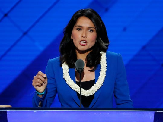 Rep. Tulsi Gabbard, D-Hi., nominates Sen. Bernie Sanders, I-VT., for president during the second day of the Democratic National Convention in Philadelphia on July 26, 2016.