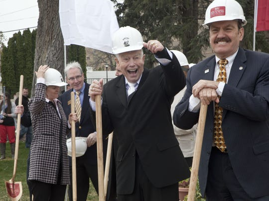 Scott Phillips, executive director of the Utah Shakespeare Festival, stands with founder Fred Adams at the groundbreaking ceremony for the Beverley Taylor Sorenson Center for the Arts in 2014.