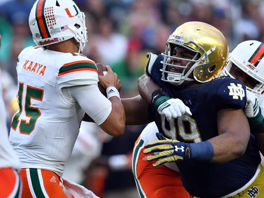 Oct 29, 2016; South Bend, IN, USA; Miami Hurricanes
