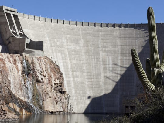 Roosevelt Dam impounds the largest water storage reservoir