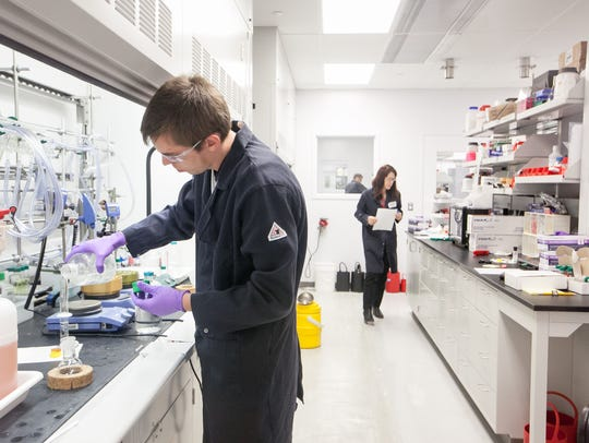 A researcher works in the chemistry lab at Incyte near Wilmington.