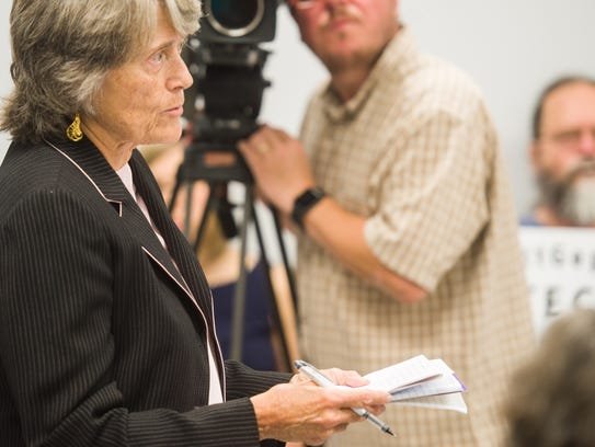 Lisa Barrett addresses the Public Service Board Thursday,