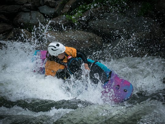 Maria Noakes, of Bryson City, paddles the Ocoee River