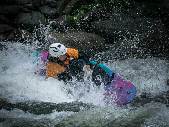 Maria Noakes, of Bryson City, paddles the Ocoee River in July 2016. Noakes died in a kayaking accident March 3 on the Cheoah River. She was an expert, internationally known kayaker.
